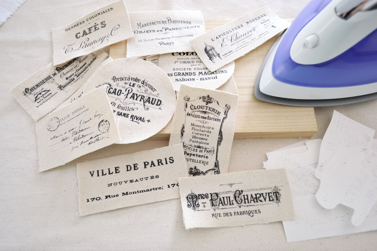 Learn how to make some beautiful DIY French Ephemera Fabric Labels - using the iron on transfer paper technique, perfect for chic decorating your home - by Dreams Factory