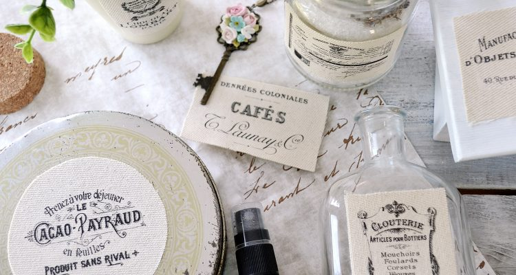 DIY French Ephemera Fabric Labels – using the iron on transfer paper technique