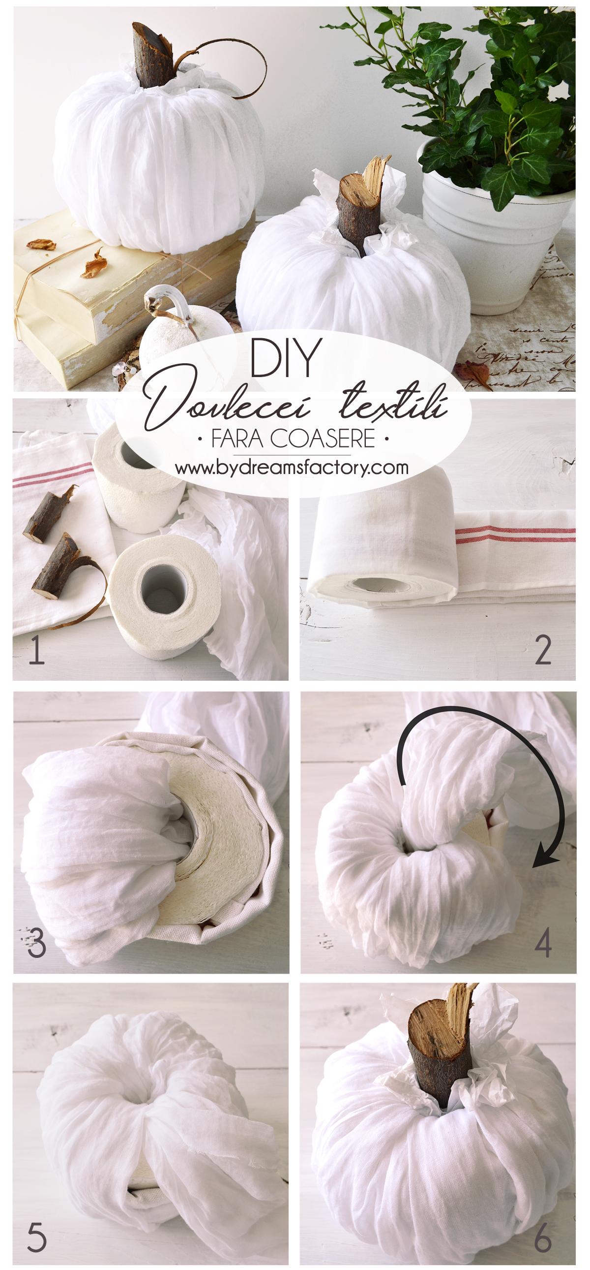 Cum facem dovlecei textili fara coasere, in doar 5 minute! Un proiect simplu dar minunat, perfect pentru a decora rapid casa de toamna.