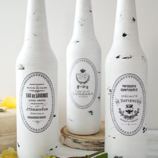 DIY Painted and Distressed French Bottles