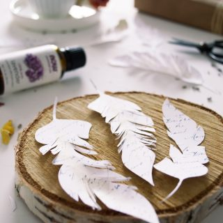 DIY French Script Paper Feathers – free printable