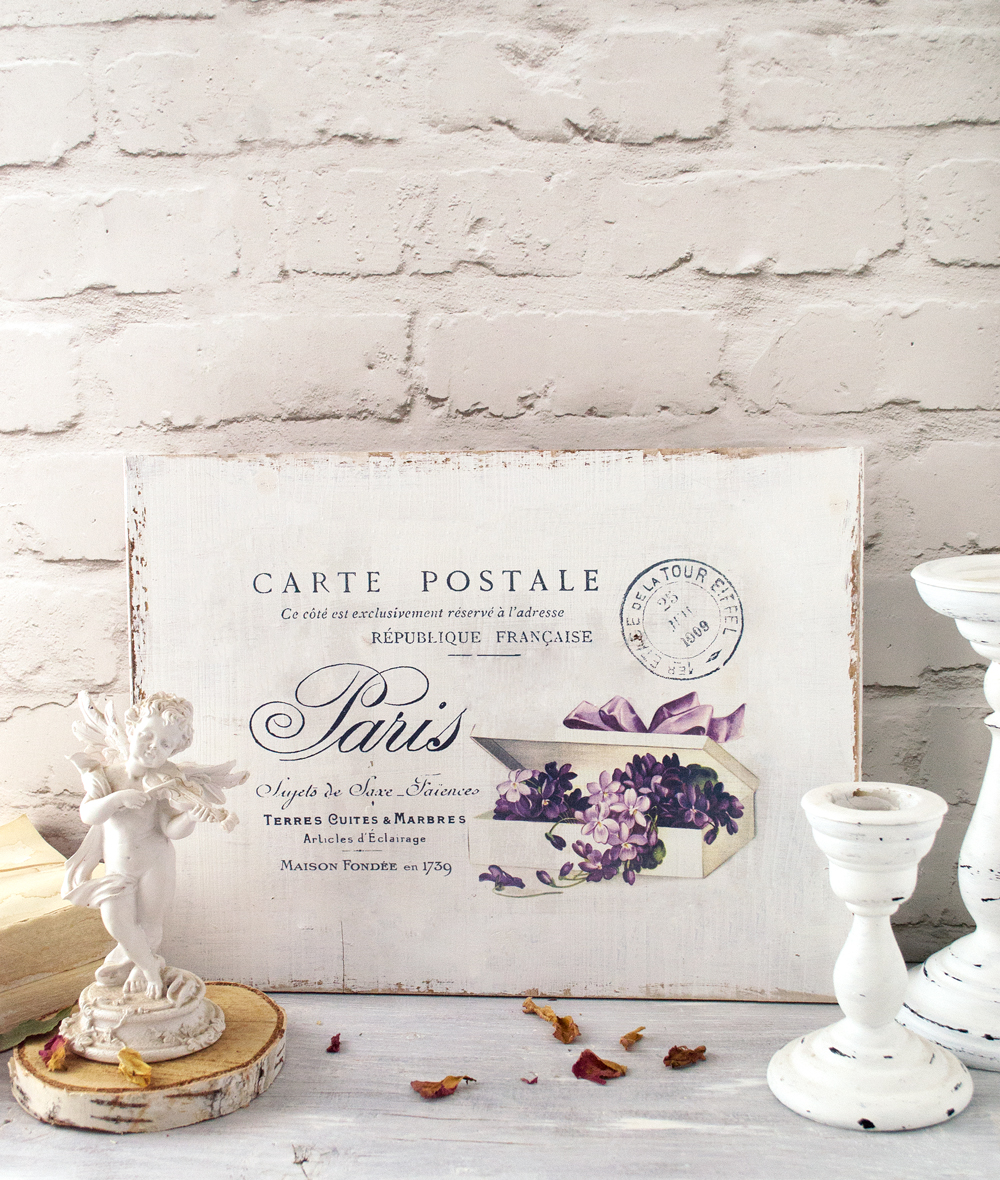 DIY French sign with fancy violets + free printable