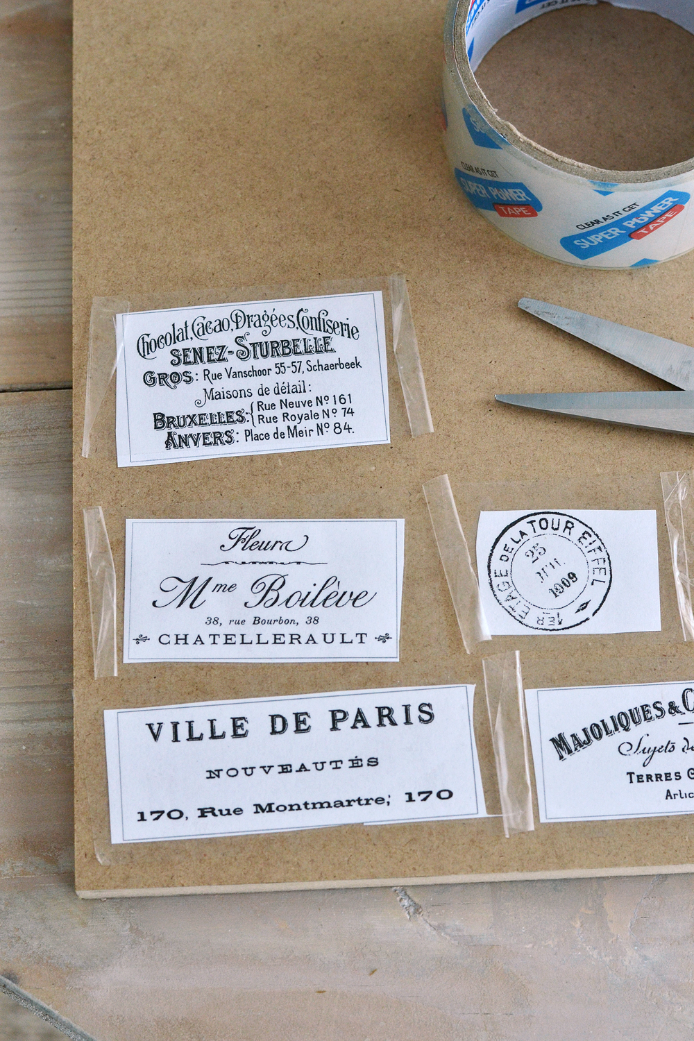 photograph about Clear Printable Labels titled Do it yourself Packing Tape Obvious French Labels + no cost printable