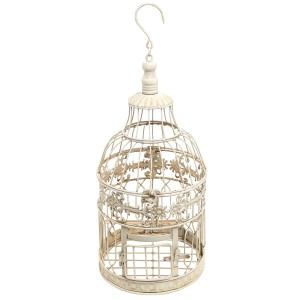 White Floral Bird Cage - Metal Decorative Candle Holder