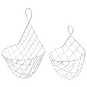 White Metal Wire Hanging Fruit - Flower & Plant Baskets
